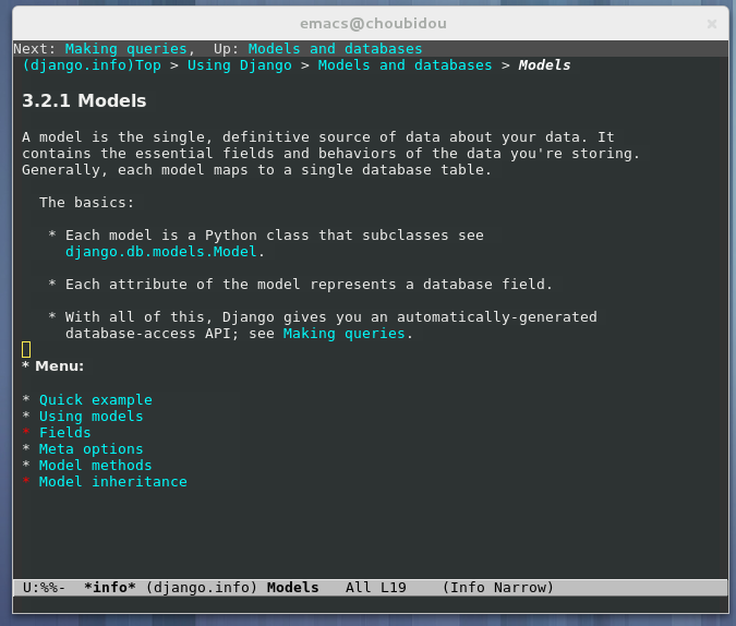 Screenshot of Django documentation inside GNU Emacs.