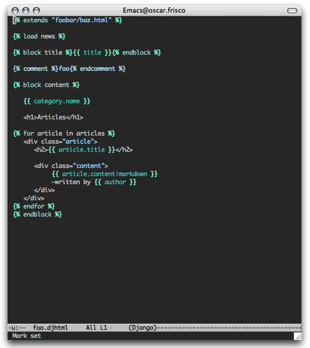 Screenshot of Django template in GNU Emacs, Mac OS X
