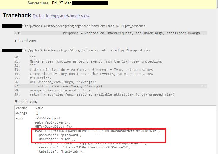 24545 (sensitive_post_parameters disclosure in csrf_exempt
