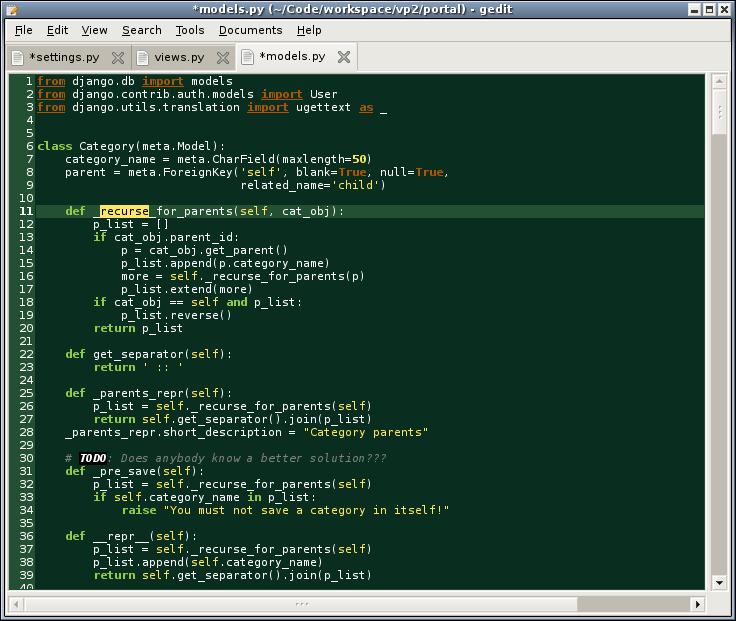 screenshot of gedit and django scheme